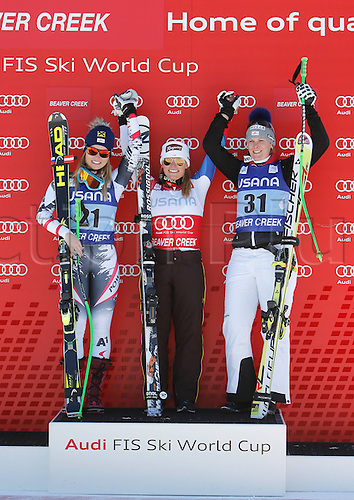 30.11.2013. Beaver Creek, Colorado, USA. Womens Super G downhill skiing world cup. Anna Fenninger (AUT), Lara Gut (SUI) and Nicole Hosp (AUT).
