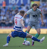 Blackburn Rovers' Sam Gallagher (right) under pressure from Reading's Michael Morrison (left) <br /> <br /> Photographer David Horton/CameraSport<br /> <br /> The EFL Sky Bet Championship - Reading v Blackburn Rovers - Saturday 21st September 2019 - Madejski Stadium - Reading<br /> <br /> World Copyright © 2019 CameraSport. All rights reserved. 43 Linden Ave. Countesthorpe. Leicester. England. LE8 5PG - Tel: +44 (0) 116 277 4147 - admin@camerasport.com - www.camerasport.com