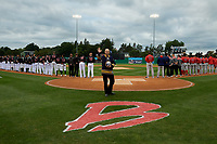 Buffalo Sabres legendary anthem singer Doug Allen performs before a Batavia Muckdogs NY-Penn League Semifinal Playoff game against the Lowell Spinners on September 4, 2019 at Dwyer Stadium in Batavia, New York.  Batavia defeated Lowell 4-1.  (Mike Janes/Four Seam Images)