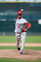 Greeneville Reds starting pitcher Alexis Diaz (45) delivers a pitch during the second game of a doubleheader against the Princeton Rays on July 25, 2018 at Hunnicutt Field in Princeton, West Virginia.  Greeneville defeated Princeton 8-7.  (Mike Janes/Four Seam Images)