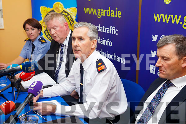 Pictured at the GARDA Press conference in Cahersiveen Garda Station on Tuesday were l-r; Garda Breda O'Donoghue(Cahersiveen), Detective Chief Walter O'Sullivan(Serious Crime Review Team-Dublin), Superintendent Flor Murphy(Killarney) & Detective Inspector John Brennan(Senior Investigating Officer).