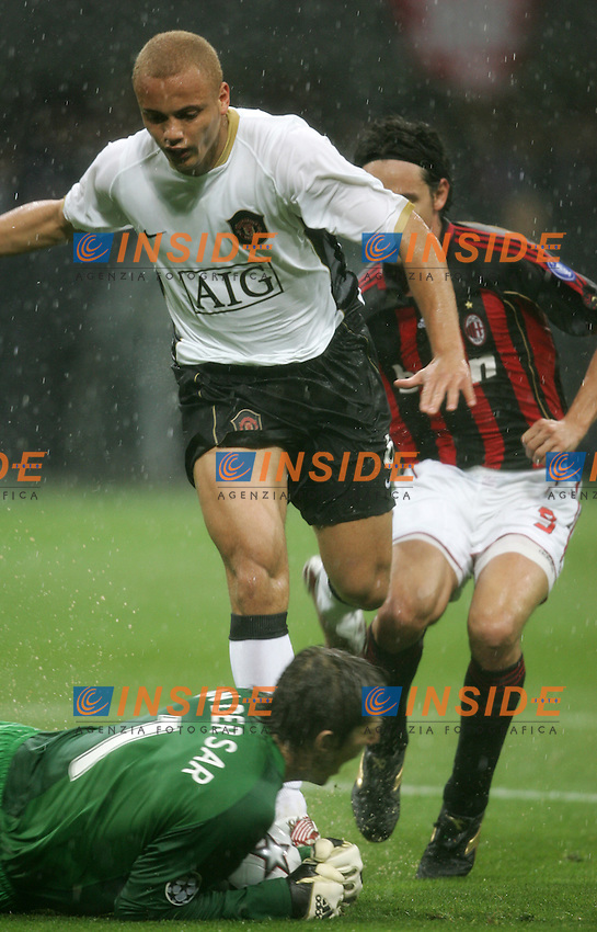 Edwin Van Der Sar and Wes Brown (Manchester)<br /> Champions League 2006-07 <br /> 3 May 2007 (Semifinal 2nd leg) <br /> Milan Manchester United (3-0) <br /> &quot;Giuseppe Meazza&quot; Stadium-Milano-Italy <br /> Photographer Andrea Staccioli INSIDE