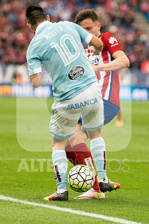 Atletico de Madrid's Saul and Celta de Vigo's Nolito during La Liga Match at Vicente Calderon Stadium in Madrid. May 14, 2016. (ALTERPHOTOS/BorjaB.Hojas)