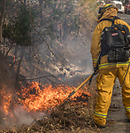 September 20, 2017--Dexter Fire--Dexter Fire was a small 5 acre fire that started and the intersection of Dexter Rd and Pine Lake Drive near my home in Greeley Hill, Mariposa County, California.  Quick action from the air resources like air tankers retardant drops and helicopters dropping water on the fire saved two houses. Also 3 engines from Cal Fire, one engine from the Forest Service were supported by a Mariposa County Water truck.  My neighbors who live uphill from the fire were really worried.  Photo by Al Golub/Golub Photography