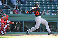Catcher Wynston Sawyer (30) of the Delmarva Shorebirds bats in a game against the Greenville Drive on Monday, April 29, 2013, at Fluor Field at the West End in Greenville, South Carolina. Delmarva won, 6-5. (Tom Priddy/Four Seam Images)