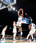 SAN ANTONIO, TX - APRIL 02:  Omari Spellman #14 of the Villanova Wildcats shoots the ball against the Michigan Wolverines in the 2018 NCAA Men's Final Four National Championship game at the Alamodome on April 2, 2018 in San Antonio, Texas.  (Photo by Brett Wilhelm/NCAA Photos via Getty Images)