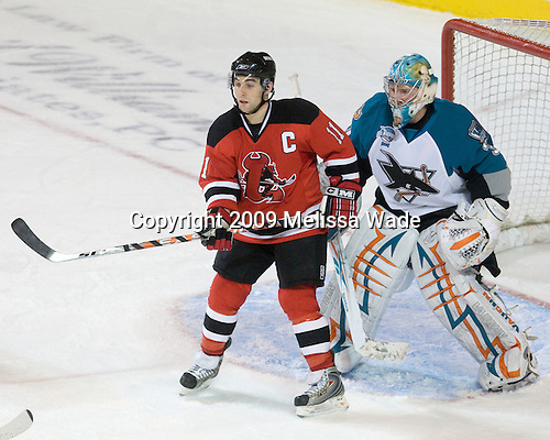 Stephen Gionta (Lowell - 11), Tyson Sexsmith (Worcester - 31) - The Lowell Devils defeated the Worcester Sharks 7-3 on Wednesday, November 11, 2009, at the DCU Center in Worcester, Massachusetts.