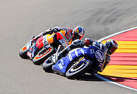 Lorenzo and Pedrosa Taking a curve race Grand Prix Aragon 2012