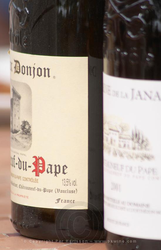 Bottle of Domaine Donjon. The restaurant Le Verger de Papes in  Chateauneuf-du-Pape Vaucluse, Provence, France, Europe