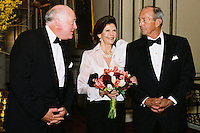 Queen Silvia of Sweden with two ambassadors at the World Childhood Fundraiser Gala, Metropolitan Club, New York City