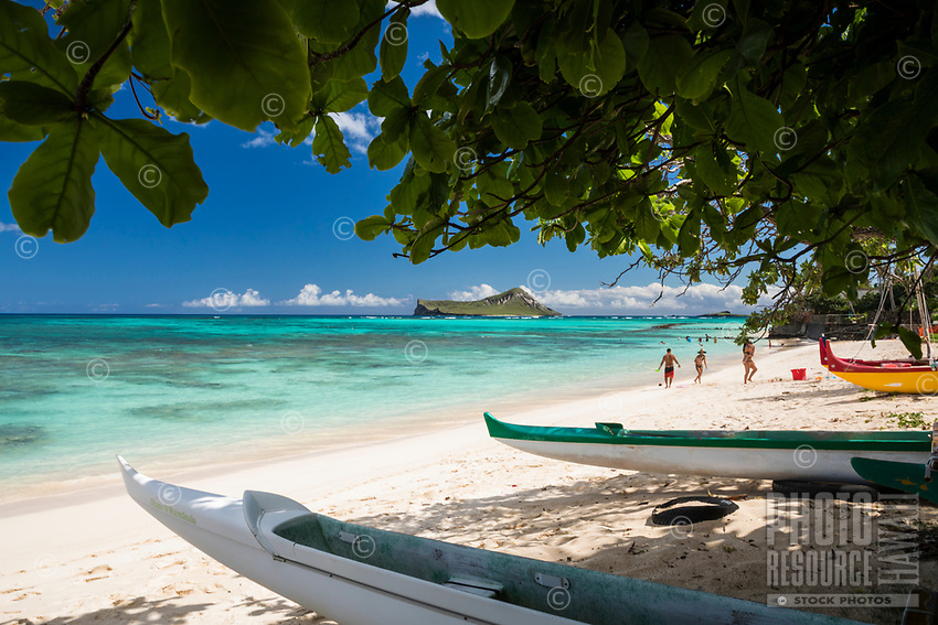 Outrigger canoes at Waimanalo Beach, Windward O'ahu; distant residents and visitors alike pepper the beach and the reef of Waimanalo Bay, with Rabbit and Bird Islands beyond.