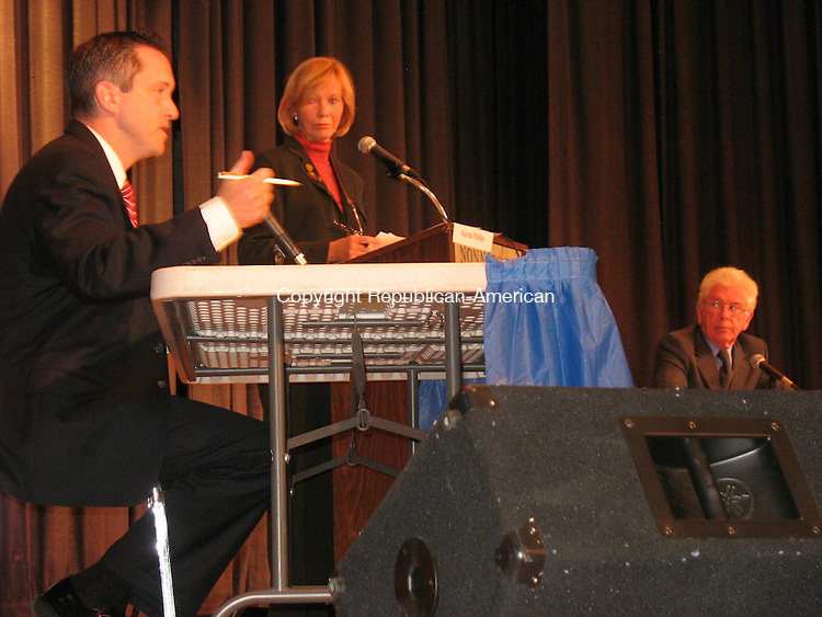 WOODBURY, CT - 29 October 2008 - 102908RH01 - Incumbent state Sen. Robert J. Kane (left) and challenger John T. McCarthy spar over taxes, healthcare, gas prices, crime, and recycling at a debate hosted by the League of Women Voters at Nonnewaug High School.