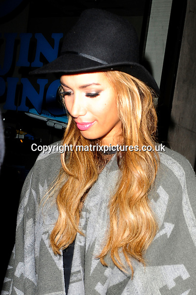 NON EXCLUSIVE  PICTURE: MATRIXPICTURES.CO.UK.PLEASE CREDIT ALL USES..WORLD RIGHTS..British pop singer Leona Lewis is spotted leaving London's Mahiki club at 3am via the fire exit, after celebrating her 28th birthday...MAY 8th 2013..REF: ASI 133066