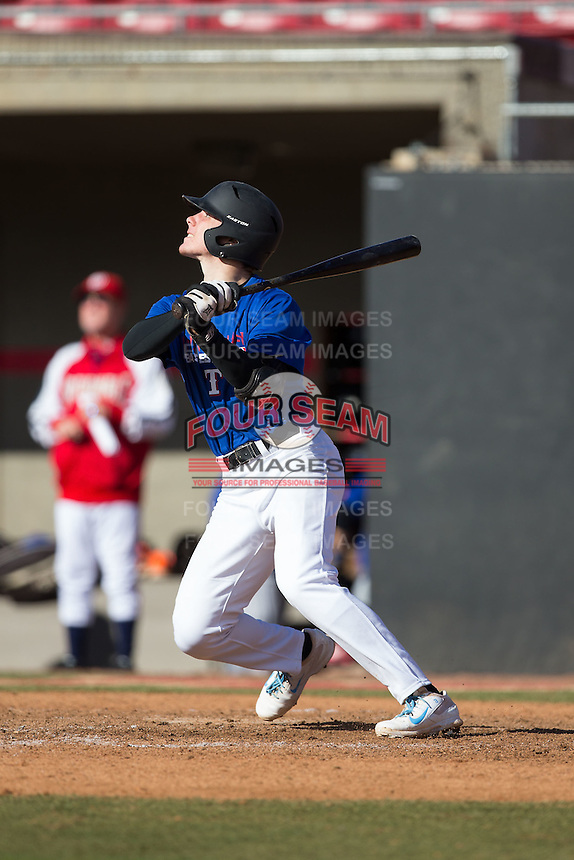 Kyle Datres (12) of Loyalsock Township High School in Williamsport, Pennsylvania playing for the Texas Rangers scout team at the South Atlantic Border Battle at Doak Field on November 2, 2014.  (Brian Westerholt/Four Seam Images)