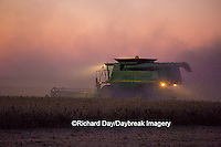 63801-06608 John Deere combine harvesting soybeans at sunset, Marion Co., IL