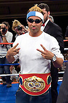 Manhattan, NY, 06.20.07:   Paulie Malignaggi  receives his IBF Junior Welterweight Championship belt  a few days after his fight against Lovemore N'Dou at the Mohegan Sun Casino, June 16th, 2007. Malignaggi won the belt from N'Dou by unanimous decision.. Photo by Thierry Gourjon.