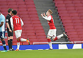 16/04/2018 Arsenal v Blackpool FAYC Semi 2L<br /> <br /> Emile Smith Rowe celebrates after scoring Aresnal's fourth from the penalty spot