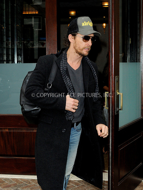 ACEPIXS.COM<br /> <br /> November 5 2014, New York City<br /> <br /> Actor Matthew McConaughey leaves a downtown hotel on November 5 2014 in New York City<br /> <br /> By Line: Curtis Means/ACE Pictures<br /> <br /> ACE Pictures, Inc.<br /> www.acepixs.com<br /> Email: info@acepixs.com<br /> Tel: 646 769 0430