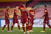 Edin Dzeko of AS Roma reacts during the Serie A football match between AS Roma and ACF Fiorentina at stadio Olimpico in Roma (Italy), July 26th, 2020. Play resumes behind closed doors following the outbreak of the coronavirus disease. <br /> Photo Antonietta Baldassarre / Insidefoto