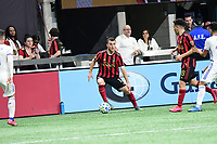 ATLANTA, GA - MARCH 07: ATLANTA, GA - MARCH 07: Atlanta United defender Brooks Lennon looks to pass the ball during the match against FC Cincinnati, which Atlanta won, 2-1, in front of a crowd of 69,301 at Mercedes-Benz Stadium during a game between FC Cincinnati and Atlanta United FC at Mercedes-Benz Stadium on March 07, 2020 in Atlanta, Georgia.