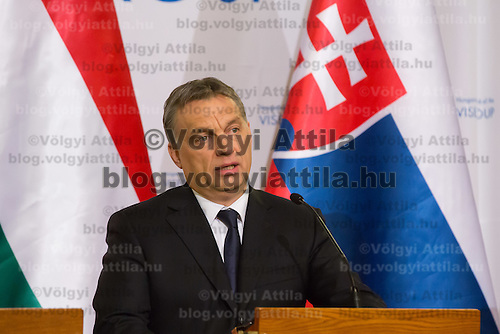 Viktor Orban Prime Minister of Hungary talks during a press conference after the special meeting of the prime ministers of the Visegrad 4 Group in Budapest, Hungary on January 29, 2014. ATTILA VOLGYI