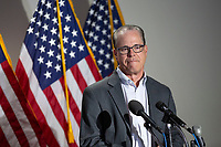 United States Senator Mike Braun (Republican of Indiana) speaks to members of the media as he arrives to GOP policy luncheons on Capitol Hill in Washington D.C., U.S., on Tuesday, June 9, 2020.  Credit: Stefani Reynolds / CNP/AdMedia
