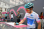 Maglia Bianca Miguel Angel Lopez (COL) Astana Pro Team at sign on before the start of Stage 15 of the 2018 Giro d'Italia, running 156km from Tolmezzo to Sappada, Italy. 20th May 2018.<br /> Picture: LaPresse/Gian Mattia D'Alberto | Cyclefile<br /> <br /> <br /> All photos usage must carry mandatory copyright credit (&copy; Cyclefile | LaPresse/Gian Mattia D'Alberto)