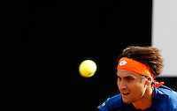 Lo spagnolo David Ferrer in azione nel corso degli Internazionali d'Italia di tennis a Roma, 10 maggio 2016.<br /> Spain's David Ferrer returns the ball to Italy's Filippo Volandri during the Italian Open tennis tournament, in Rome, 10 May 2016.<br /> UPDATE IMAGES PRESS/Isabella Bonotto
