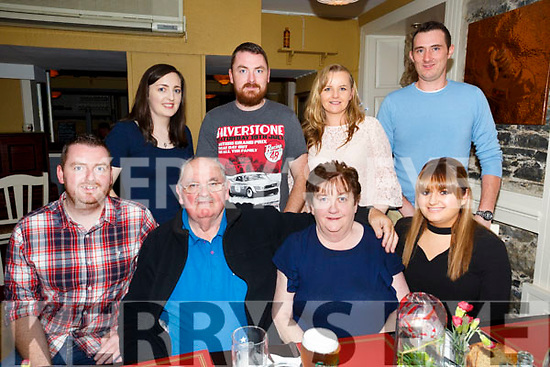 Celebrating their 38th Wedding Anniversary Michael and Pat Boyle, Rahoonane Tralee, with family at the Brogue Inn on Saturday Front l-r Michael Boyle, Michael Boyle Sr, Pat Boyle, Carolyn Boyle Back l-r Rachel Sheehan, David Boyle, Jennifer Boyle and Denis Fitzgerald