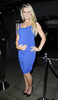 AMY GUY.At the Active Harry new campaign launch party, Embassy nightclub, London, England, UK, .February 9th 2011..full length  sleeveless blue dress hand on hip black shoes ruched pregnant maternity bump .CAP/CAN.©Can Nguyen/Capital Pictures.