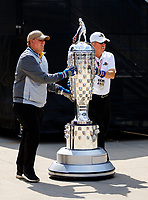 May 26, 2017; Indianapolis, IN, USA; Track officials move the Borg-Warner Trophy during IndyCar Series Carb Day for the 101st Running of the Indianapolis 500 at Indianapolis Motor Speedway. Mandatory Credit: Mark J. Rebilas-USA TODAY Sports