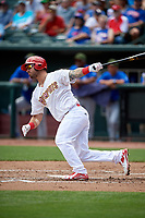 Memphis Redbirds first baseman Rangel Ravelo (4) follows through on a swing during a game against the Iowa Cubs on May 29, 2017 at AutoZone Park in Memphis, Tennessee.  Memphis defeated Iowa 6-5.  (Mike Janes/Four Seam Images)