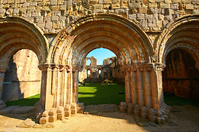 Romanesque arch of Fountains Abbey , founded in 1132, is one of the largest and best preserved ruined Cistercian monasteries in England. The ruined monastery is a focal point of England's most important 18th century Water, the Studley Royal Water Garden which is a UNESCO World Heritage Site. Near Ripon, North Yorkshire, England