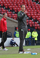 John Kennedy (nearest) issues instructions as John Potter walks out  in the Dunfermline Athletic v Celtic Scottish Football Association Youth Cup Final match played at Hampden Park, Glasgow on 1.5.13.