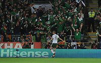 Ireland's James McClean celebrates scoring his side's first goal  <br /> <br /> Photographer Ian Cook/CameraSport<br /> <br /> FIFA World Cup Qualifying - European Region - Group D - Wales v Republic of Ireland - Monday 9th October 2017 - Cardiff City Stadium - Cardiff<br /> <br /> World Copyright &copy; 2017 CameraSport. All rights reserved. 43 Linden Ave. Countesthorpe. Leicester. England. LE8 5PG - Tel: +44 (0) 116 277 4147 - admin@camerasport.com - www.camerasport.com