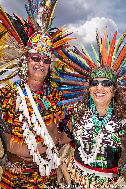 The annual Taos Pow-Wow,  each year in early July,  is attended not only by dancers from different tribes of New Mexico but by  participants from many other states as well.Linda Velarde and her partner represent the Aztecas.