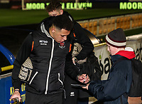 Blackpool's Myles Boney signs an autograph<br /> <br /> Photographer Andrew Kearns/CameraSport<br /> <br /> The Emirates FA Cup Second Round - Solihull Moors v Blackpool - Friday 30th November 2018 - Damson Park - Solihull<br />  <br /> World Copyright © 2018 CameraSport. All rights reserved. 43 Linden Ave. Countesthorpe. Leicester. England. LE8 5PG - Tel: +44 (0) 116 277 4147 - admin@camerasport.com - www.camerasport.com