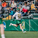 6 April 2019:  University of Vermont Catamount Defender Will Jones, a Freshman from Maitland, FL, in action against the University at Albany Great Danes on Virtue Field in Burlington, Vermont. The Cats rallied to defeat the Danes 10-9 in America East divisional play. Mandatory Credit: Ed Wolfstein Photo *** RAW (NEF) Image File Available ***