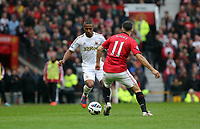 Pictured: (L-R) Wayne Routledge, Ryan Giggs.<br /> Sunday 12 May 2013<br /> Re: Barclay's Premier League, Manchester City FC v Swansea City FC at the Old Trafford Stadium, Manchester.