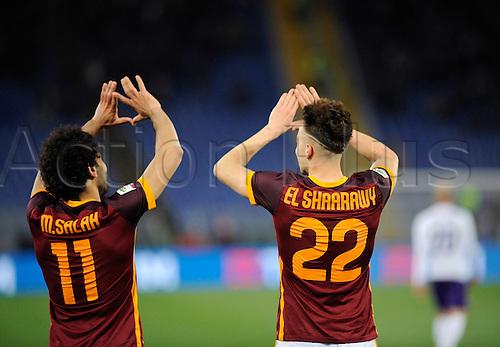 04.03.2016. Stadium Olimpico, Rome, Italy.  Serie A football league. AS Roma versus Fiorentina. Salah and El Shaarawi goal celebration