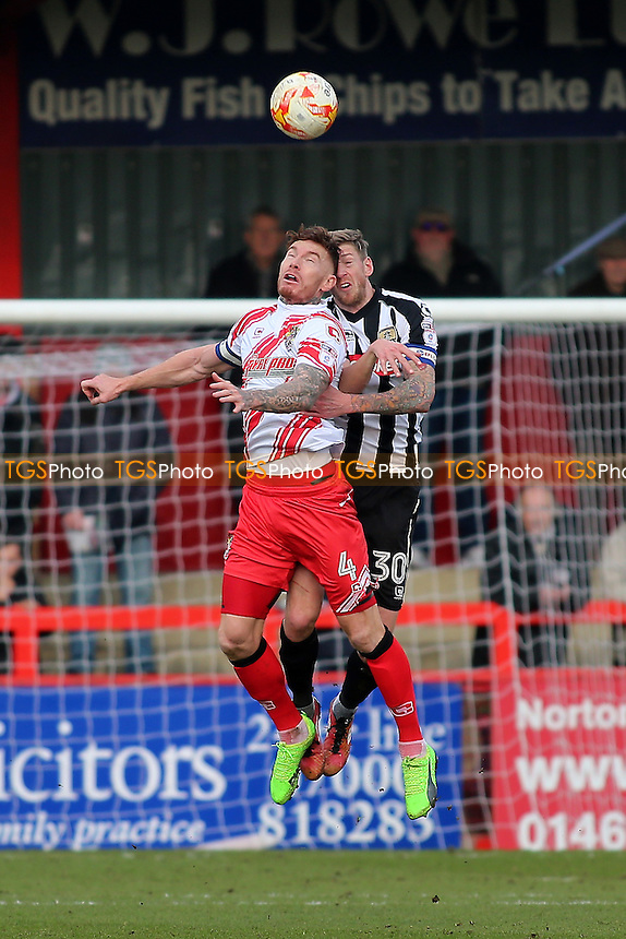 Jack King of Stevenage rises with Jonathan Stead of Notts County during Stevenage vs Notts County, Sky Bet EFL League 2 Football at the Lamex Stadium on 4th March 2017