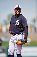 Detroit Tigers first baseman Miguel Cabrera (24) during a Grapefruit League Spring Training game against the Atlanta Braves on March 2, 2019 at Publix Field at Joker Marchant Stadium in Lakeland, Florida.  Tigers defeated the Braves 7-4.  (Mike Janes/Four Seam Images)