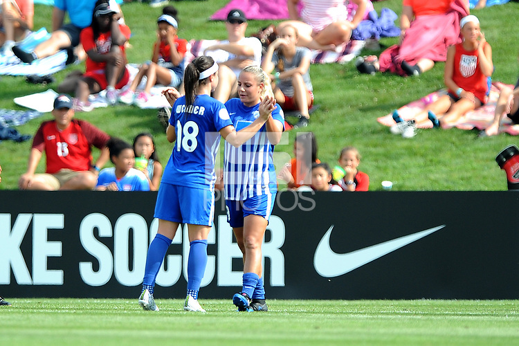 Boyds, MD - Saturday August 12, 2017: Tiffany Weimer, Adriana Leon during a regular season National Women's Soccer League (NWSL) match between the Washington Spirit and the Boston Breakers at Maureen Hendricks Field, Maryland SoccerPlex.