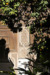 A courtyard with orange trees in the Bahia Palace in Marrakesh, Morocco.