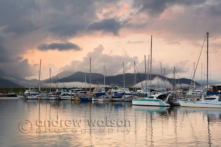 Boats in the Marlin Marina at dawn.  Cairns, Queensland, Australia