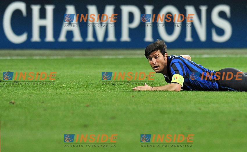 """Javier ZANETTI (Inter).Milano 13/03/2012 Stadio """"Giuseppe Meazza"""".Champions League 2011/2012.Football Calcio Inter Vs Olympique Marsiglia.Foto Insidefoto Alessandro Sabattini."""