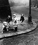 Children on street corner, London 1940s