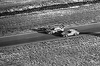 #5 Porsche 935 of  Bob Akin, John O'Steen, and Hans Joachim Stuck, 5th place, and #82 Mazda RX-7 of Lee Mueller, Terry Visger, and John Casey, 24th place, aerial view from Goodyear blimp, 3rd place,  12 Hours of Sebring, IMSA Camel GT race, Sebring International Raceway, Sebring, Florida, March 24, 1984.  (Photo by Brian Cleary/www.bcpix.com)