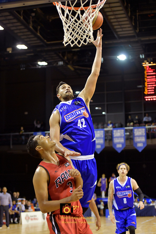Saints' Tai Wesley in action during the NBL - Wellington Saints v Canterbury Rams   at TSB Bank Arena, Wellington, New Zealand on Saturday 8 April 2017.<br /> Photo by Masanori Udagawa<br /> www.photowellington.photoshelter.com.