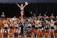 28 January 2012:  FIU's cheerleaders fire up the crowd in the second half as the FIU Golden Panthers defeated the Western Kentucky University Hilltoppers, 60-56, at the U.S. Century Bank Arena in Miami, Florida.